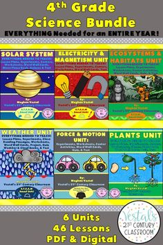 This 4th-grade science curriculum includes lesson plans, hands-on activities and experiments, worksheets, and video links. Six science units are included. #vestals21stcenturyclassroom #4thgradescience #4thgradescienceexperiments #4thgradesciencelessonplans #4thgradescienceworksheets #4thgradesciencecurriculum #solarsystemlessonplans #electricitylessonplans #ecosystemslessonplans #weatherlessonplans #forceandmotionlessonplans #plantslessonplans