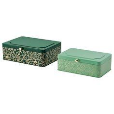 IKEA - ANILINARE アンニリナレ, デコレーションボックス2個セット, グリーン ゴールドカラー, メタル, 小物やソーイング用品から、手紙やクッキーまで、何でもしまっておけます デコレーションボックス 小(22.8×15.5×7.5cm)1個、デコレーションボックス 大(25.5×19.0×8.5cm)1個 FJÄLLA/フィェラ シリーズ、ANILINARE/アンニリナレ シリーズの商品とコーディネートできます
