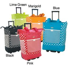 @Overstock - Travel in style with this polka dot rolling tote  Luggage features recessed metal ball bearing in-line skate wheels  Top-load opening to spacious main compartmenthttp://www.overstock.com/Luggage-Bags/Olympia-Polka-Dots-Rolling-Shopper-Tote/3086943/product.html?CID=214117 $28.99