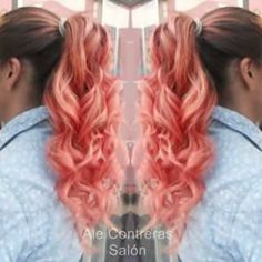 Ombre hair color hair Mechas en tono salmon / coral