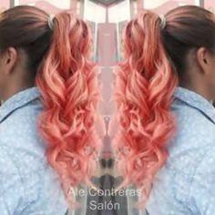 Ombre hair color hair Mechas en tono salmon / coral