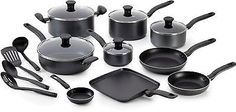 Nonstick Cookware Set 18 Piece Sauce Saute Fry Pans Pot Kitchen Utensil Charcoal