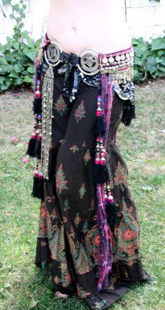 Professional Tribal Fusion Belly Dance Bellydance Hip Belt Uzebek Tassels Kuchi Fringe Costume