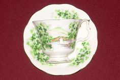 Royal Albert China Tea Cup and Saucer, Ancestral Series, Emerald Isle