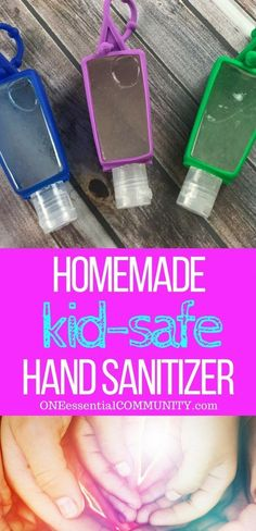 DIY kid-safe hand sanitizer recipe with essential oils - Germs are everywhere. When you can't get to a sink to wash your hands, keep clean with this natural homemade hand sanitizer gel {with essential oils}.   #essentialoils #essentialoilrecipes #essentialoilDIY #DIYhandsanitizer #easyDIY #essentialoiluses #handsanitizer #naturalDIY #handsanitizergel