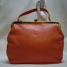Vintage 60s ROGER VAN S. Papaya Leather Purse