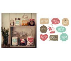 Etiquetas autoadhesivas para frascos de cocina