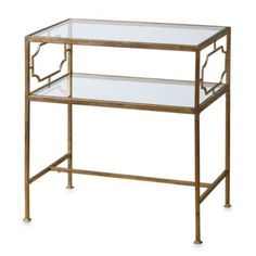 Entry table! Uttermost Genell Gold-Leaf Iron Glass Side Table