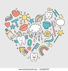 Vector cute shape of heart with cartoon teeth, nature and dental elements
