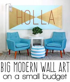 Great idea to grab a large canvas and make an easy accent piece