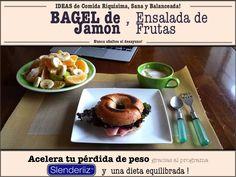 Desayuno PALEO - Bagel de Jamon - Ensalada de Frutas - Comida Balanceada, equilibrada, sana! Perdida de Peso - Dieta homeopatica