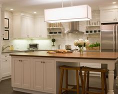 """kitchenzz: """" kitchen by Persephone Irene Design http://www.houzz.com/photos/2044161/South-End-Kitchen-traditional-kitchen-boston """" A wood island countertop warms up a crisp white kitchen."""