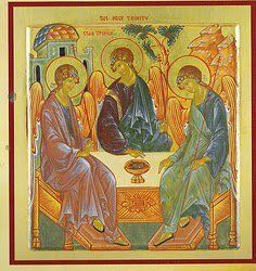 "This is a very famous Orthodox icon called ""The Hospitality of Abraham."" It was written by a 15th C. monk named Andrei Rublev. This icon depicts the Holy Trinity."