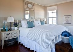 French Farmhouse Bedroom with blues & whites