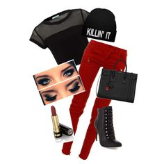 A fashion look from December 2014 featuring Balmain jeans, BCBGMAXAZRIA ankle booties and Yves Saint Laurent handbags. Browse and shop related looks.