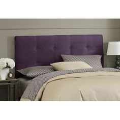 Skyline Furniture Double Button Tufted Headboard in Purple