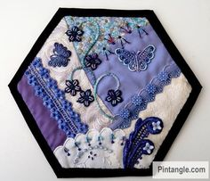 Contemporary hand embroidery and crazy quilting tutorials, patterns, ideas and inspiration. Crazy Quilt Stitches, Crazy Quilt Blocks, Quilt Block Patterns, Pattern Blocks, Crazy Quilting, Hexagon Quilting, Block Quilt, Fall Arts And Crafts, Arts And Crafts For Adults