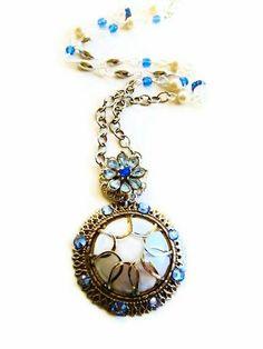 Rhinestone Flower Necklace Vintage by ModernVintageStudio on Etsy, $52.00