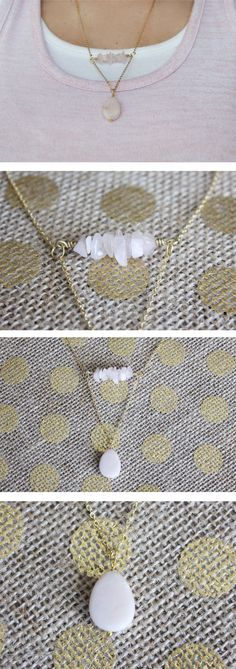 Rose Quartz Stone Chip Bar Necklace with Rose Quartz Pendant This 16k gold…