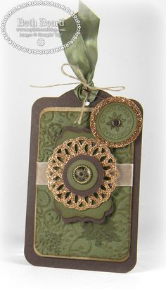 A Stampin' Up! Always Artichoke, champagne glimmer paper gift tag