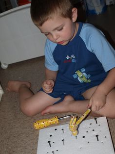 styrofoam, nails, screws, and tools! great for OT, or just keeping your boy busy! could also use golf tees and a kid's hammer.