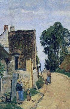 """Camille Pissarro (1830-1903) ~ """"Auvers-Sur-Oise, Rue de Village"""", 1873 (actuellement Rue du Dr Gachet) ~ Huile sur Toile (Détail)"""