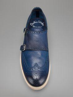 Santoni men's brogue detail monk strap shoe