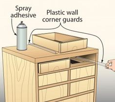 Corner guards make cheap, slick slides Small drawers don't usually need to support much weight, so why mount expensive sliding hardware to them? Instead, try acrylic corner guards used to protect drywall. Use high-strength spray adhesive to attach them to the cabinet's insides. They provide a slippery, long-wearing surface for the drawers to ride on. —Bill Seitz, LaPorte, Ind. Wood Magazine Tip of the Day