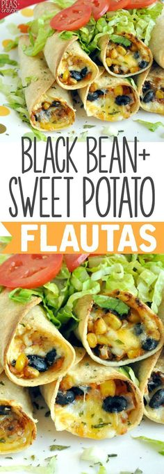 Cheesy -BAKED- Black Bean and Sweet Potato Flautas :: my entire family loves this tasty vegetarian recipe! #VegetarianDiet