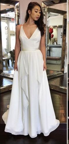 42a45078718a Sexy V Neck White Chiffon Long Prom Dress,Backless Prom Dress,Prom Dress  For Teens,Custom Made Party Dress,Long Prom Dress,Formal Prom Dress,Charming  ...