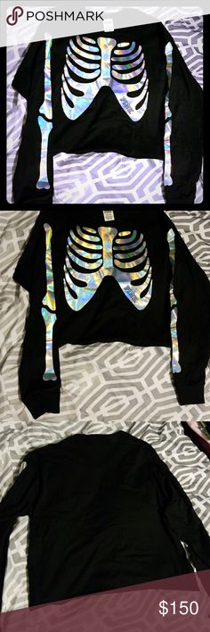 Victoria's Secret Pink Halloween Top Long sleeve crop top  Limited edition Halloween collection  Skeleton holographic from plain back Brand new in online plastic PINK Victoria's Secret Tops