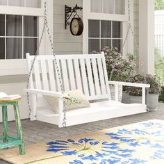 Highland Dunes Swanley Porch Swing with Chain Finish: White Porch Swing With Stand, Patio Swing, Front Porch Swings, Front Porch Seating, Farmhouse Porch Swings, Swing Chairs, Front Deck, Farmhouse Front, Front Yard Decor