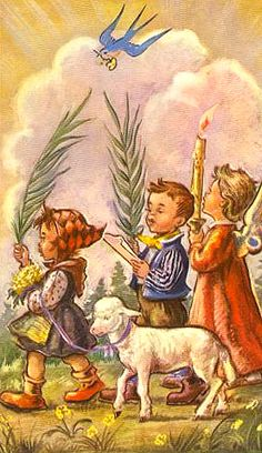 Palm Sunday vintage- we will come rejoicing bringing in the sheaves!