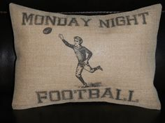 Vintage Monday Night Football Burlap Pillow sports accent