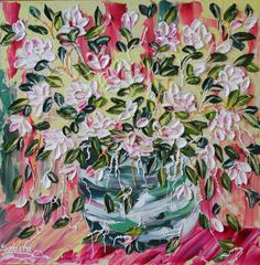 Barbara Scharpf #originals, #art, #impasto, #texture, #acrylic, #for sale, #wood canvas, #floral, Traveling Rose
