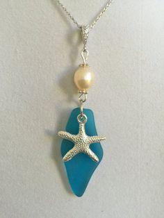 Verre de mer bleu étoile de mer argent et collier de par joytoyou41 #seaglassnecklace #seaglassjewelry