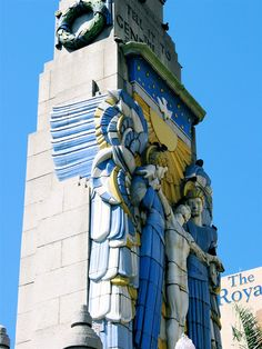 Detail of Art Deco bas-relief on building in Durban, South Africa