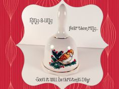Vintage Porcelain Bell Christmas Bird Holly by ConstantlyAlice, $9.00