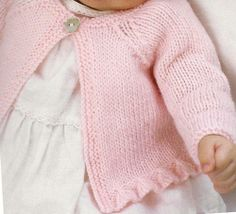 pink cardigan with ruffle edge-1