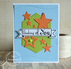 Card by PS DT Teri Anderson using PS Hexalongs, Stars dies, Blissful Banners
