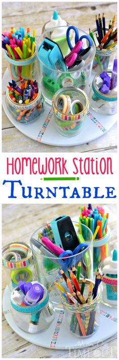 Homework time doesn't have to be a pain! This Homework Station Turntable keeps all homework supplies at your fingertips! | MomOnTimeout.com