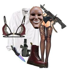 """the purge (halloween)"" by sunshineilenia ❤ liked on Polyvore featuring Banana Republic, Chicnova Fashion, Holster, Dr. Martens and Playful Promises"