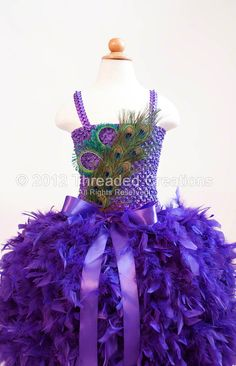Feather Dress   Feather Tutu Dress   Peacock by threadedcreations, $130.00