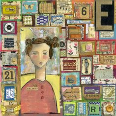 """This is an older piece. Still loving the patchwork and all the tiny messages inside the patchwork. Her shirt reads, """"No Regrets"""" - yes, yes, yes. Everything shapes us, and our stories, like a patchwork of experiences, deeply matter."""