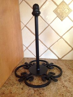 Wrought iron paper towel holder by Scrollworksiron on Etsy