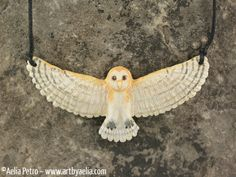 Resin Barn Owl Necklace - Jareth from Labyrinth Photo Restoration, Owl Necklace, Photo Manipulation, Traditional Art, Pet Portraits, Fashion Necklace, Custom Jewelry, Sculpting, Hand Painted