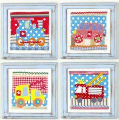 "£17.50 each ""Driving me Spotty"" Boys Nursery Art train, bus, fire engine and truck available in blue, green or white handpainted, distressed frames #nurserywallart #nurserydecor"