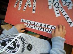 Naampuzzels: print de namen van de kinderen uit, lamineer ze en snijd ze doormidden. De kinderen puzzelen de twee delen aan elkaar. Misschien ook foto's met namen maken, zodat ze die erbij kunnen leggen?