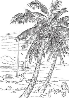 Welcome to Dover Publications - CH Seashore Scenes Beach Coloring Pages, Tree Coloring Page, Coloring Pages To Print, Coloring Book Pages, Coloring Sheets, Free Coloring, Creative Haven Coloring Books, Arte Sketchbook, Printable Adult Coloring Pages