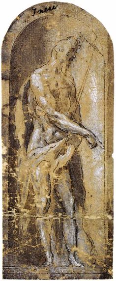 El Greco - St. John the Baptist, 1577, Pen and brown ink with brown and grey wash, heightened with white on paper, 136 x 55 mm, Private collection